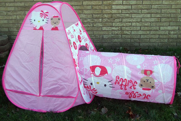 hello kitty pop up tent and tunnel nib ebay. Black Bedroom Furniture Sets. Home Design Ideas