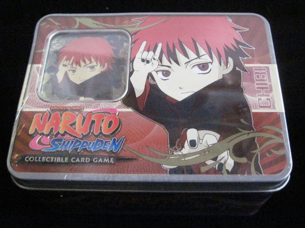 Naruto Ultimate Battle TCG CCG Collector Sasori Tin 2 Rare Cards 4 Packs